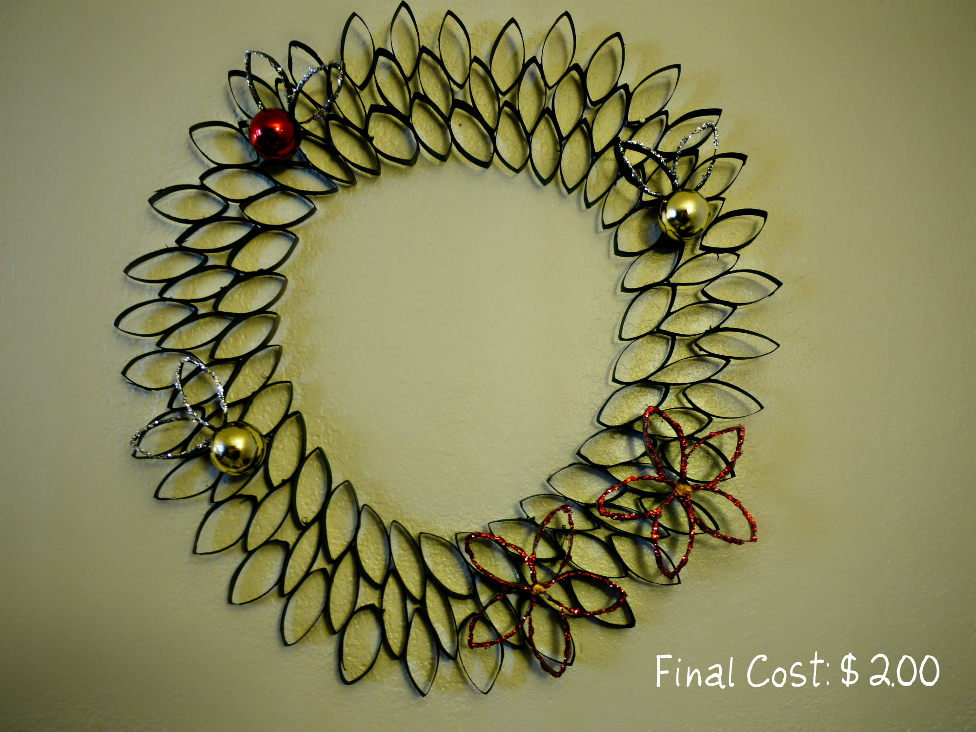 Inexpensive Christmas Craft Toilet Paper Roll Wreath Cost 200