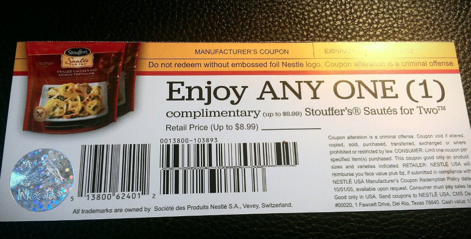 photograph about Stouffer Coupons Printable named Cost-free Stouffers Material Coupon Came Inside of The Mailbox