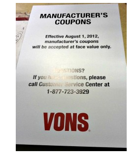 Vons store coupon policy