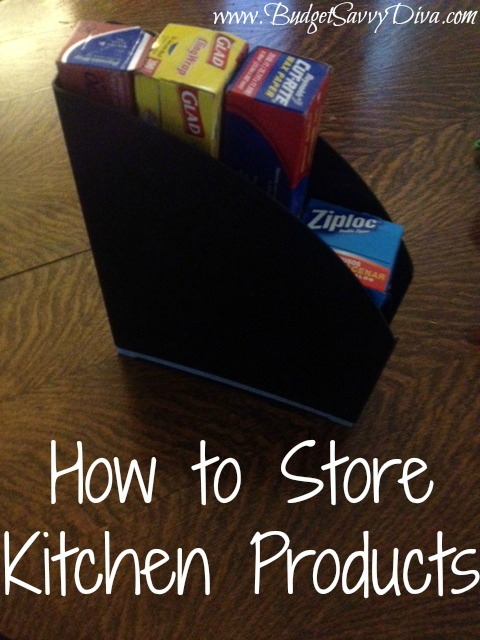 Use Magazine Rack To Store Kitchen Products