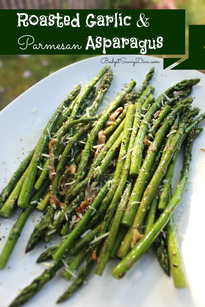 Roasted Garlic and Parmesan Asparagus Recipe on BudgetSavvyDiva.com