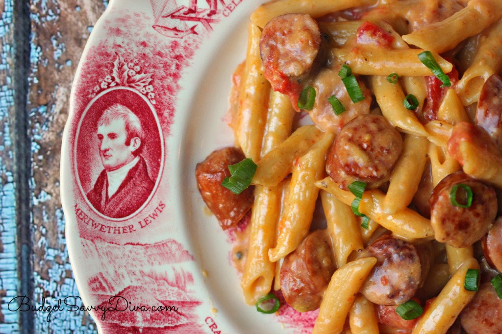 One Pan Cheesy Smoked Sausage & Pasta Recipe
