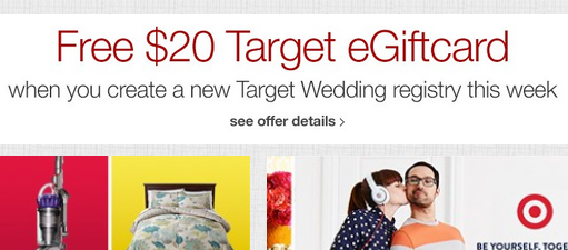 Target Free 20 Gift Card When You Create Wedding Registry Budget
