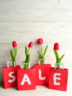 Red bargain sale bags with red tulips