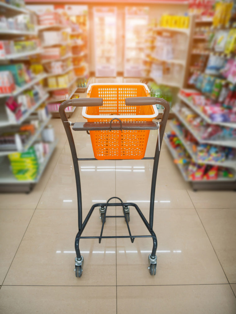 basket on shopping cart in supermarket