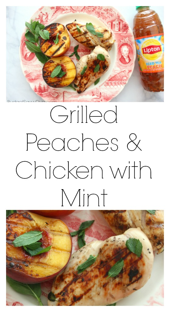 Grilled Peaches and Chicken with Mint