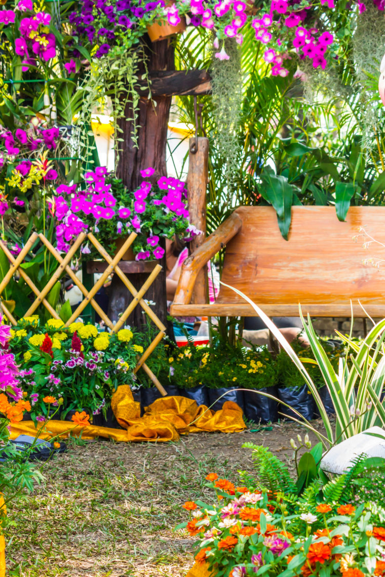 Wood chair in the flowers garden./ Wood chair in the flowers garden on summer.