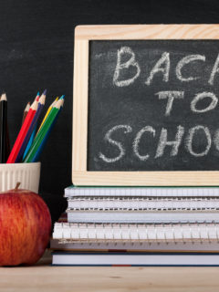 Back to school concept with chalkboard